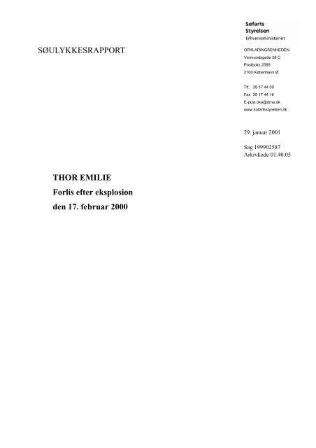 SØULYKKESRAPPORT THOR EMILIE Forlis efter ... - Søfartsstyrelsen