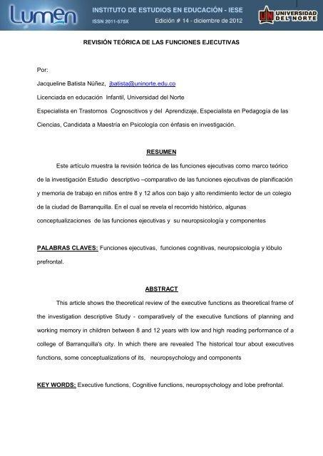 Las Funciones Ejecutivas - Universidad del Norte