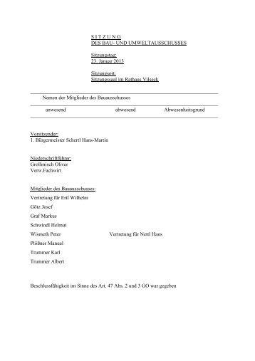 Protokoll zur Sitzung des Bau - bei der Stadt Vilseck