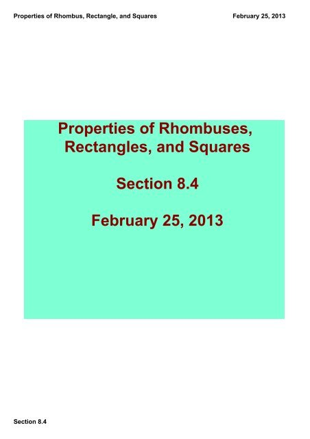 Properties of Rhombus, Rectangle, and Squares