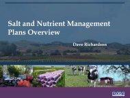 Salt and Nutrient Management Plans Overview
