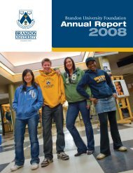 2008 Annual Report - Institutional Advancement - Brandon University