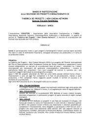 BANDO DI PARTECIPAZIONE ALLA SELEZIONE DEI PROGETTI ...