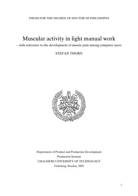 Muscular activity in light manual work