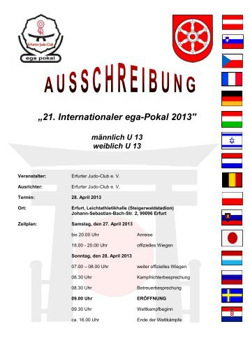 """21. Internationaler ega-Pokal 2013"" - beim Bremer Judo-Verband"