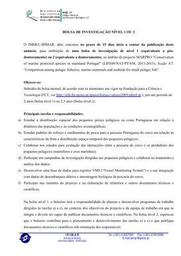BOLSA DE INVESTIGAÇÃO NÍVEL 1 OU 2 O INRB/L-IPIMAR, abre ...