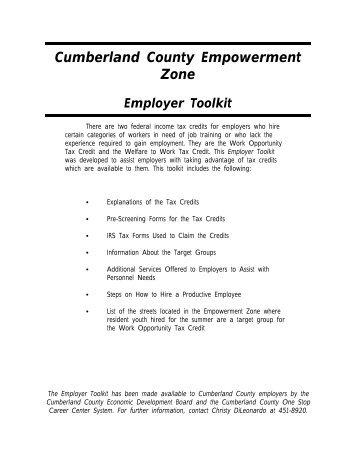 Empowerment Zone Employer Toolkit (PDF) - Cumberland County