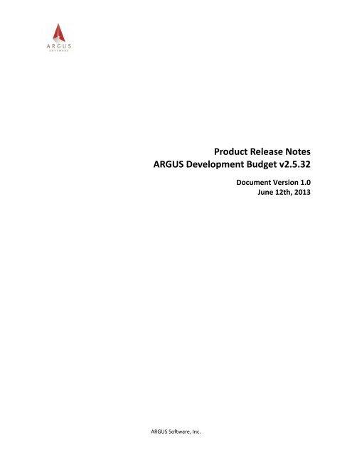 ARGUS Development Budget Release Notes pdf - ARGUS Software