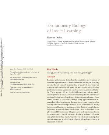 Evolutionary Biology of Insect Learning - Department of ...