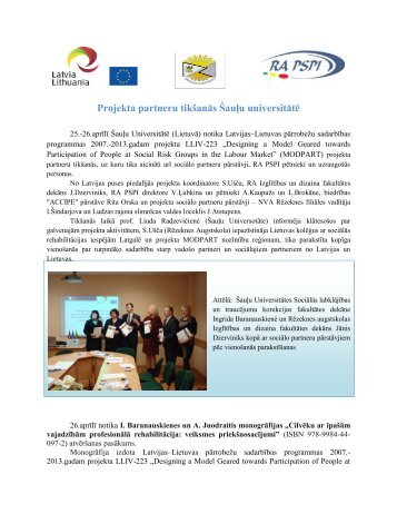 Projekta partneru tikšanās Šauļu universitātē - Rēzeknes Augstskola