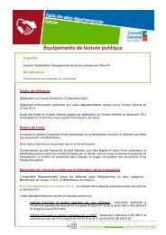 Équipements de lecture publique - Conseil Général de la Côte-d'Or