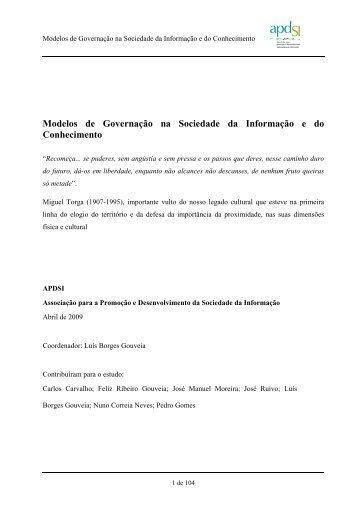 Modelos de Governação na Sociedade da Informação e do ...
