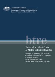 External Accident Costs of Motor Vehicles Revisited - Bureau of ...
