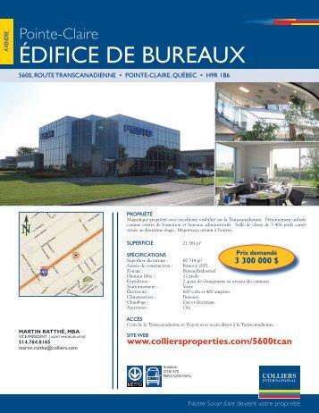 ÉDIFICE DE BUREaUX - Colliers International
