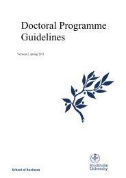 Doctoral Programme Guidelines - Företagsekonomiska institutionen
