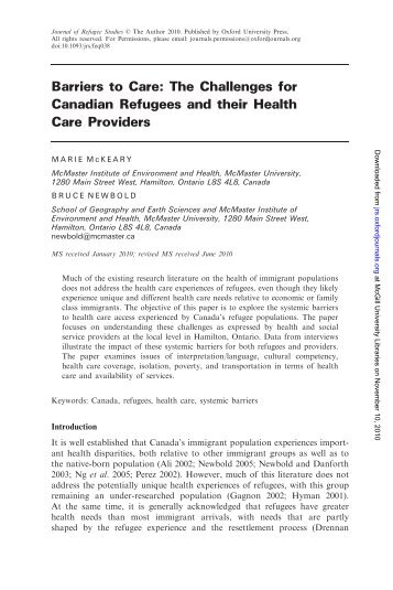 Barriers to Care: The Challenges for Canadian ... - McGill University