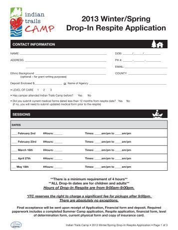 2013 Winter/Spring Drop-In Respite Application - Indian Trails Camp