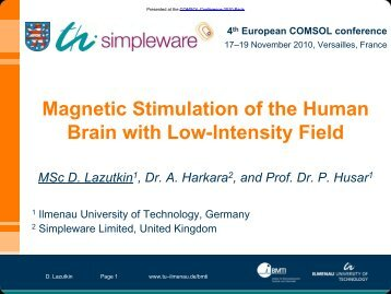 Magnetic Stimulation of the Human Brain with Low ... - COMSOL.com