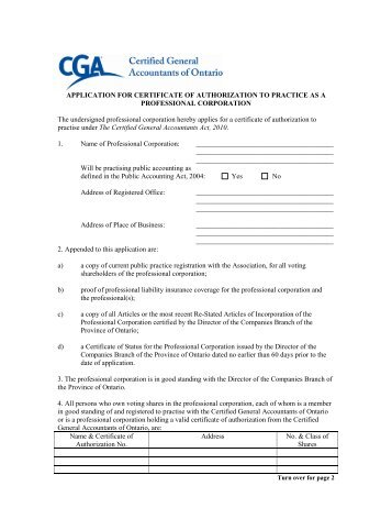 Application for Certificate of Authorization - Certified General ...