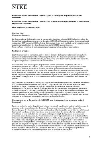 Ratification de la Convention de l'UNESCO pour la sauvegarde du ...