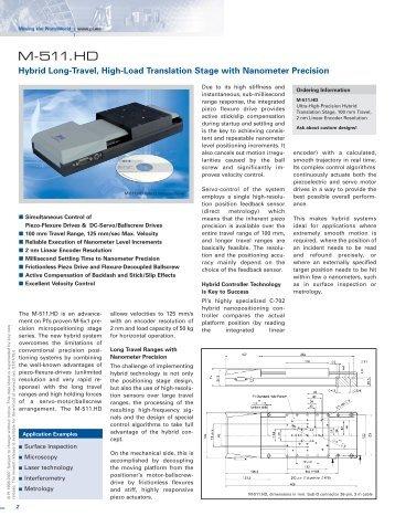 M-511.HD Datasheet - PZT & Piezo Actuators: Sub Nanometer ...