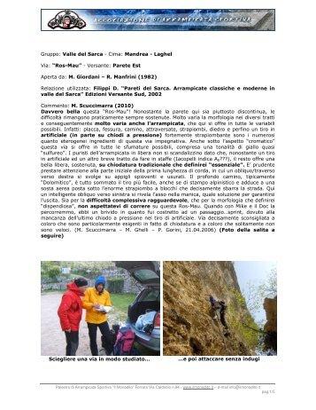 Gruppo: Valle del Sarca - Cima: Mandrea - Laghel Via ... - Il Monodito