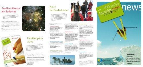 Familienpass News: Dezember 2009 - Vorarlberg