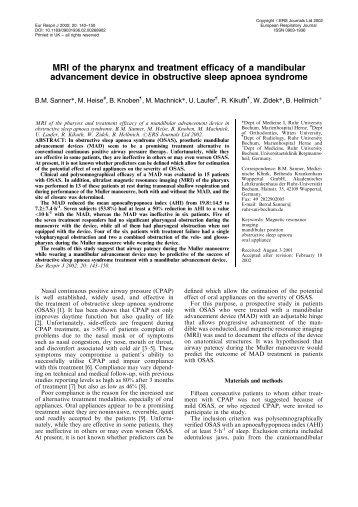 MRI of the pharynx and treatment efficacy of a mandibular ...