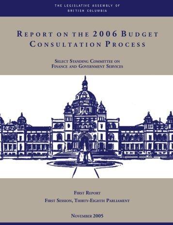 2 0 0 6 B U D G E T - Legislative Assembly of British Columbia