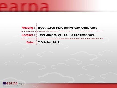 Chairman Earpa Earpa 10 Years Anniversary 2 Oct 2012