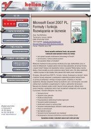 Microsoft Excel 2007 PL. Formuły i funkcje. Rozwiązania ... - Structum