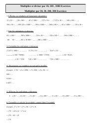 Multiplier et diviser par 10, 100 , 1000 Exercices ... - Pass Education