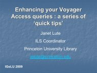 Enhancing Your Voyager Access Queries: A Series of Quick ... - IGeLU