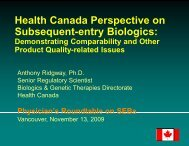 Health Canada Perspective on Subsequent-entry ... - Life Sciences