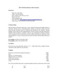 EECS 560 Introduction to Data Structure Instructor: Name: Dr. Luke ...