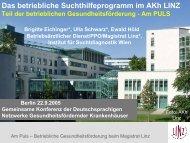 Das betriebliche Suchthilfeprogramm im AKH Linz - ONGKG