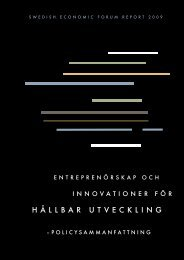 Swedish Economic Forum Report 2009 - Entreprenörskapsforum