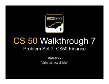 CS 50 Walkthrough 7 - Index of