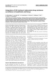 Integration of HIV testing in tuberculosis drug resistance ... - TB CARE I