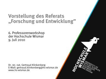 Ziele der Stabsstelle F&E – kurzfristig - Robert-Schmidt-Institut