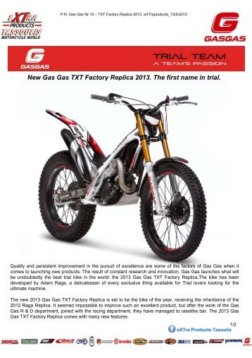 New Gas Gas TXT Factory Replica 2013. The first ... - eXTra Products