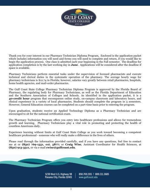 Pharmacy Technician Diploma Program Gulf Coast Community