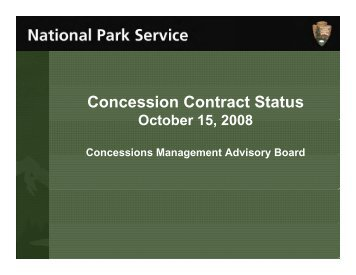 Concession Contract Status - National Park Service Concessions ...
