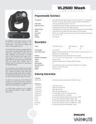 VL2500 Wash Luminaire Spec Sheet - Vari-Lite