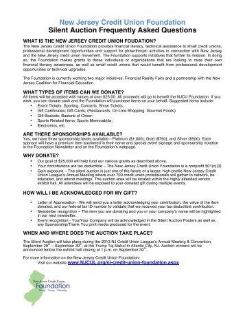 NJ CU Foundation's Silent Auction - New Jersey Credit Union League