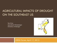 Agricultural Impacts of Drought on the Southeast US
