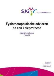 Knieprothese, fysiotherapeutische adviezen - SJG Weert