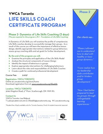 LIFE SKILLS COACH CERTIFICATE PROGRAM - YWCA Toronto