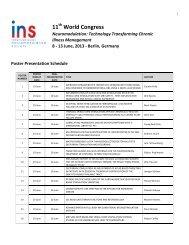 Poster Presentation Schedule - International Neuromodulation Society