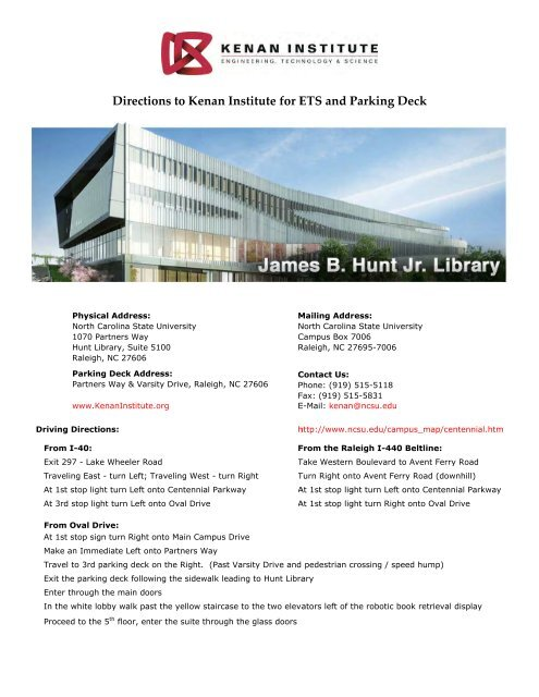 PDF Directions to the Kenan Institute for ETS and Parking Map